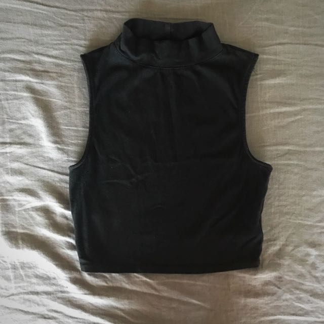 Black Turtle Neck Cropped Top