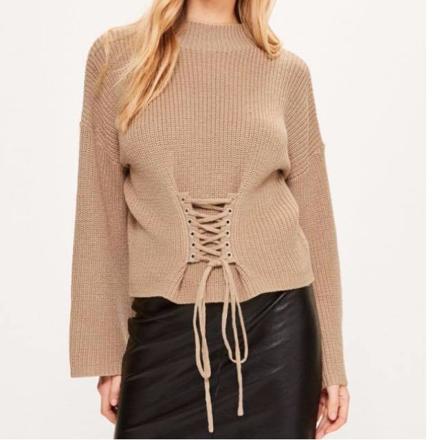 BNWT MISSGUIDED LACE UP SWEATER