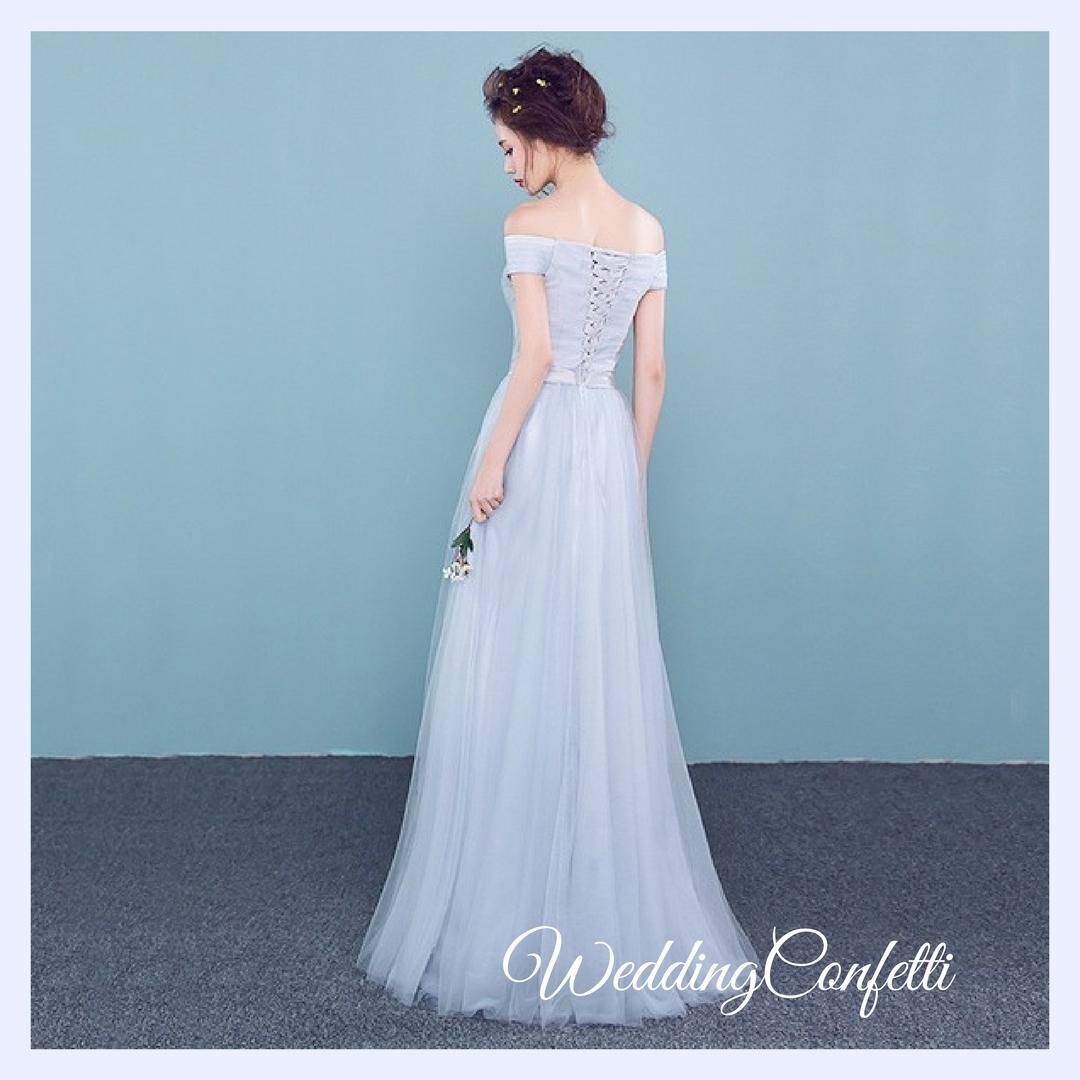 Brand New* Wedding Bridal Sisters Off Shoulder Pink / Grey Dress ...