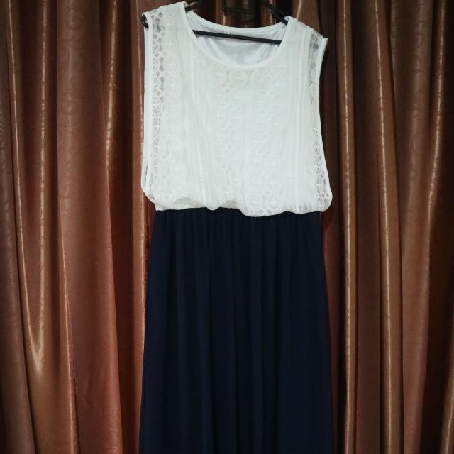 Brocade Chiffon Midi Dress