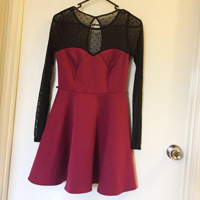 Burgundy Mesh Dress