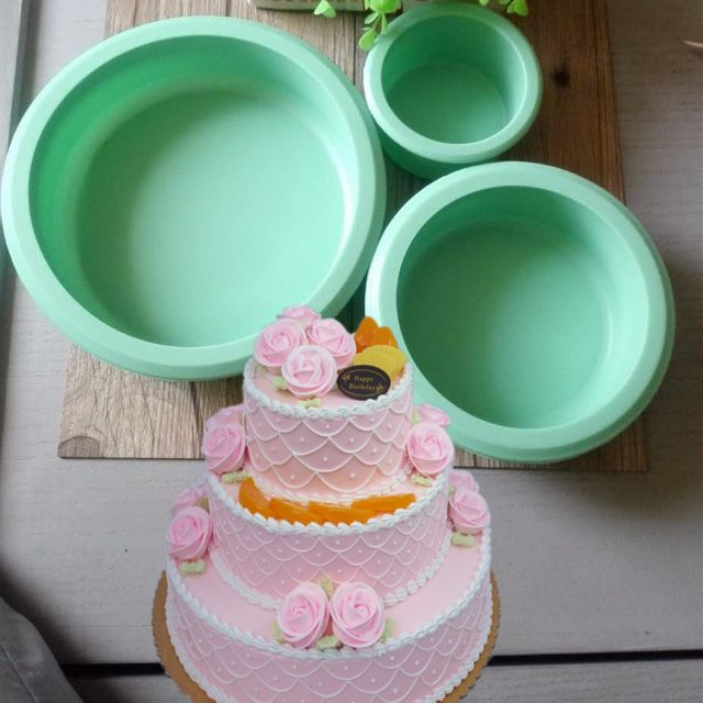 Ck001 3 Tier Cake Silicone Mold Round Cirlce Green Different Size
