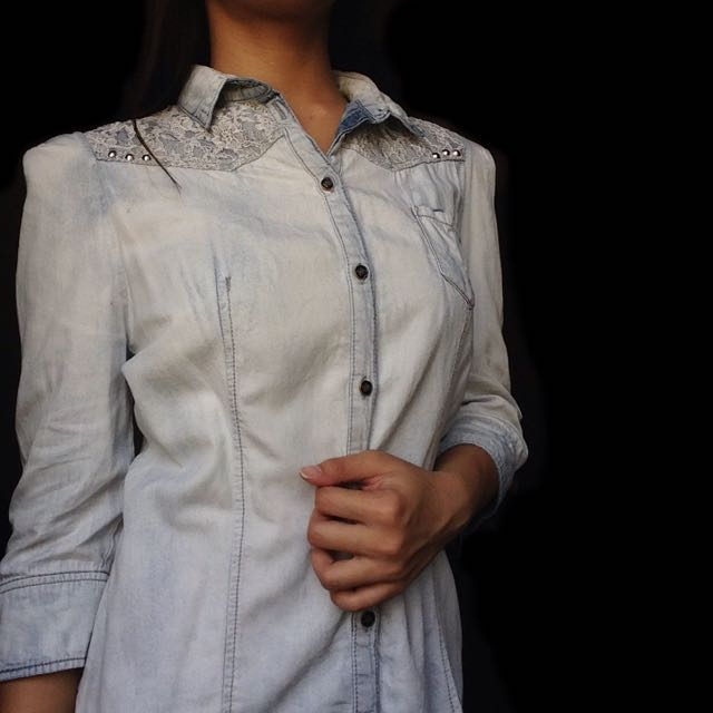 Denim Polo With Lace And Studs
