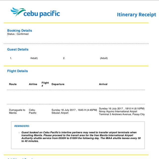 Dumaguete - Manila Plane Ticket