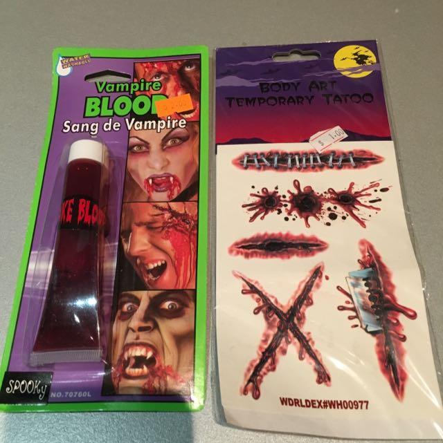 Fake Vampire Blood And Fake Tattoos