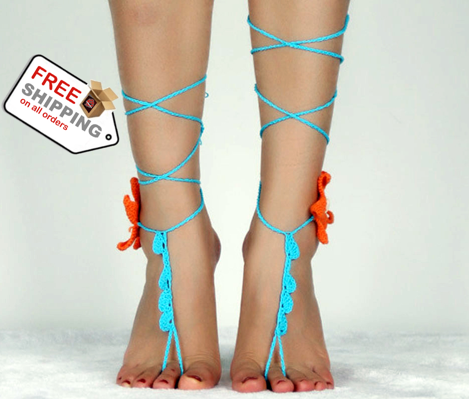 Fashion Style Starfish Anklets Cotton Crochet Circle Barefoot Sandals + Free Shipping