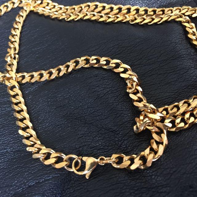 Gold Chain Hip Hop Necklace Kalung Pria Model Rantai