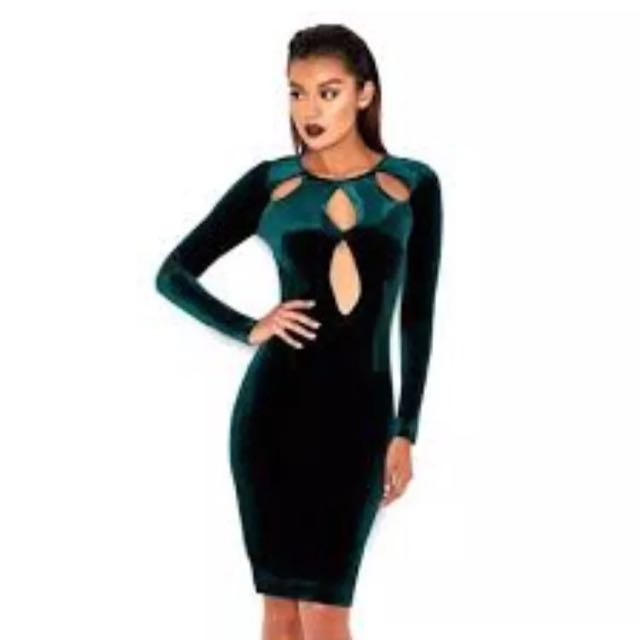 HOUSE OF CB green Velvet Bodycon Dress With Cutouts