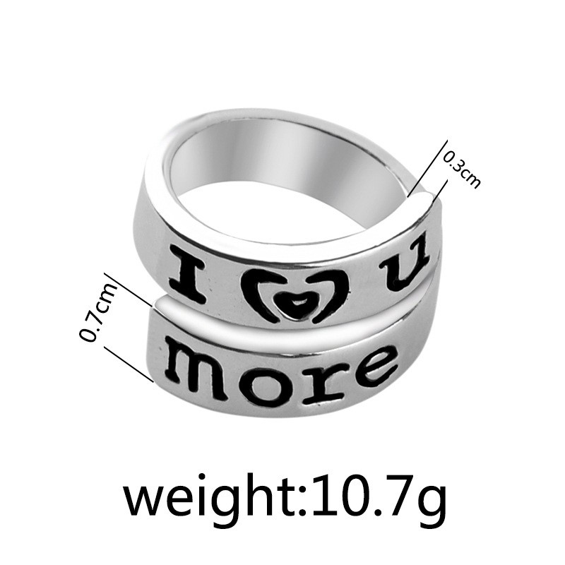 I Love u More Promise Ring for Couple Lover Painting Letter + Free Shipping