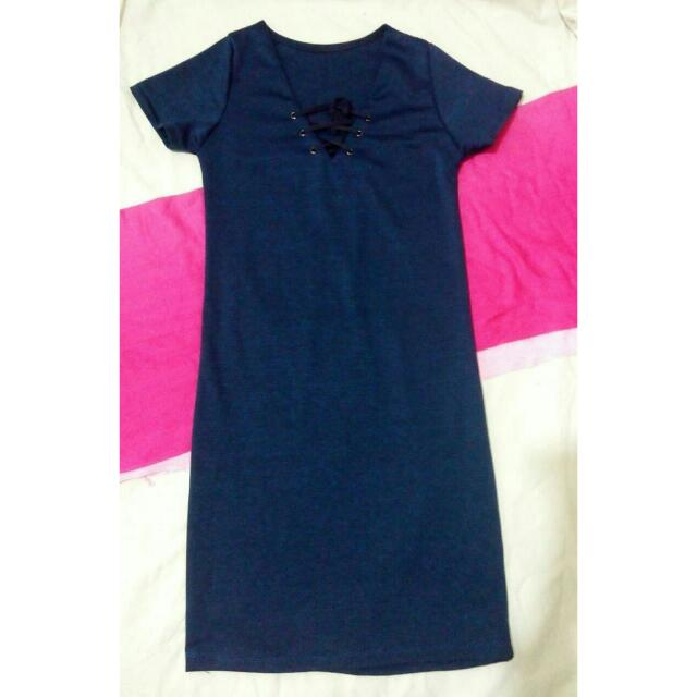 Lace Up Dress Navy Blue