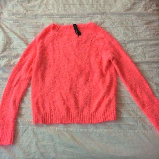 Light Neon Coral Fuzzy Sweater