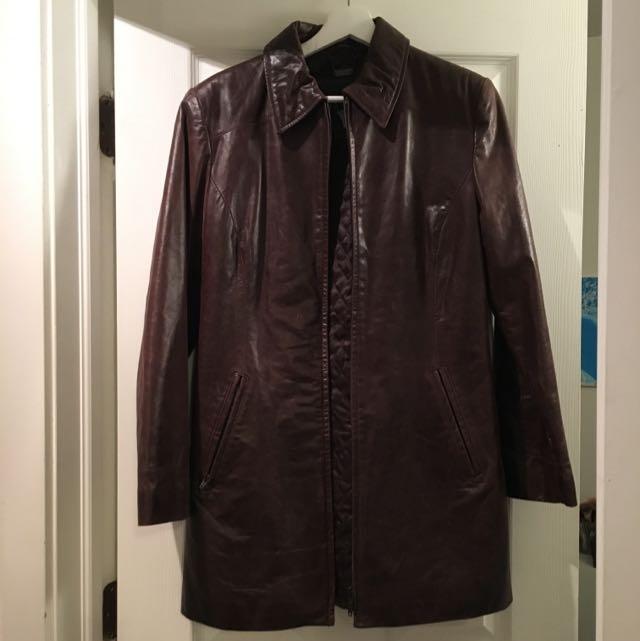 Long Brown Danier Leather Coat