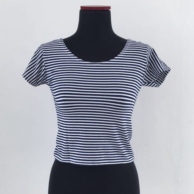 Navy Crop Top Tee Stripe