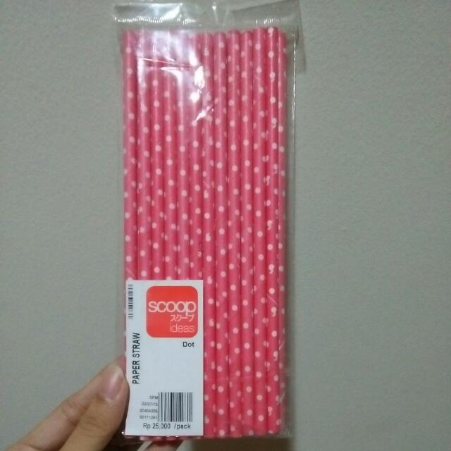 Pink Paper Straw Scoop