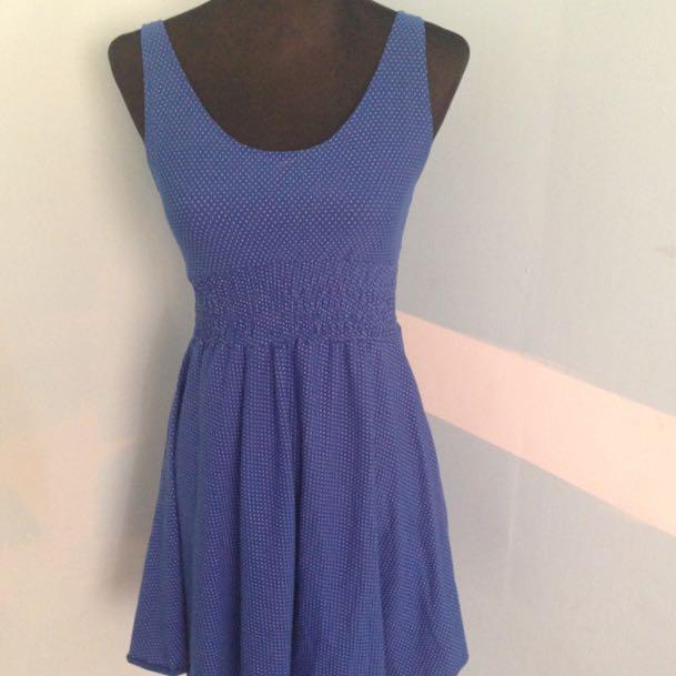 Polkadot Skater Dress Blue
