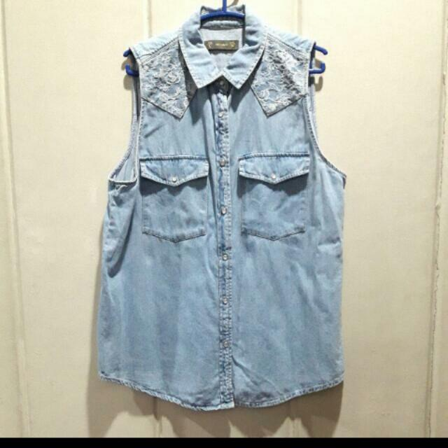 Pull And Bear Denim Sleeveless Top LARGE