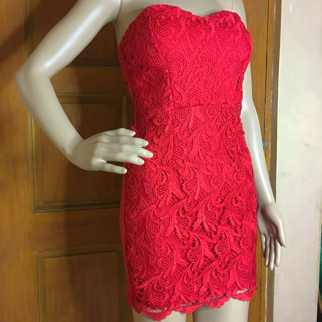 Red Lace Sweetheart Tube Dress