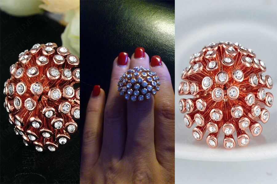 Rivet and Pave Austrian Crystals Ring Rose Gold Plated Jewelry + Free Shipping