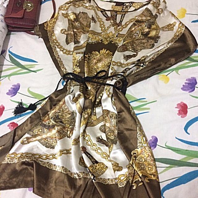 Sheer Satin Scarf Dress