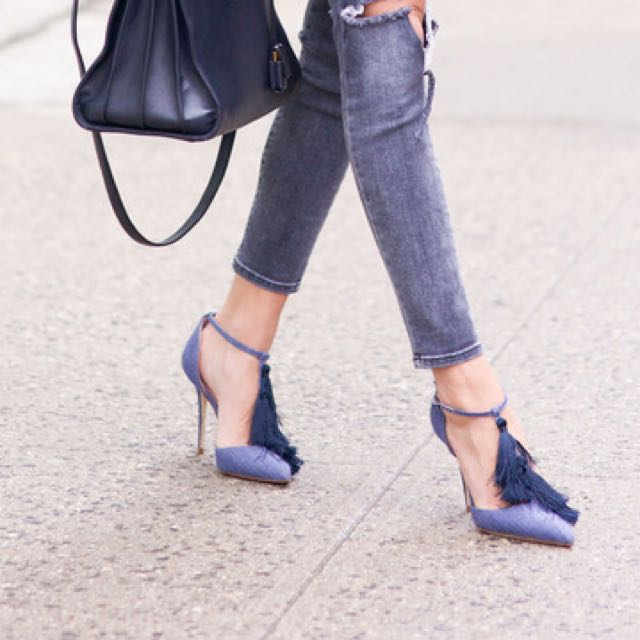 tassels Front Blue High Heels