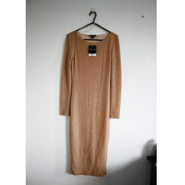 TOPSHOP Gold Bodycon Dress