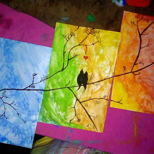 Water Color Inspired LOVE BIRD DUSK TO DAWN PAINTING