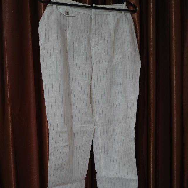 Zara White Stripe Pants