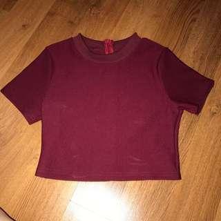 PRELOVED EDITORES MARKET Maroon Croptop - Baju Crop Top Merah Marun Tua