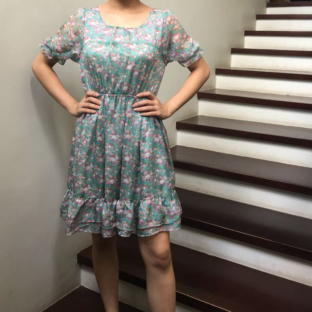 017 Green Floral Dress