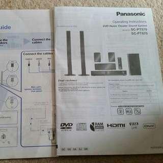 Panasonic Dvd Home Theater Sound System.  SC-PT870- SC-PT750