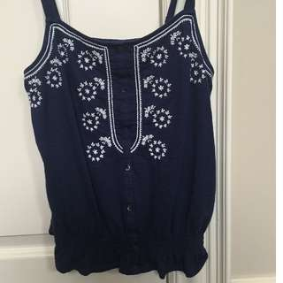 American Eagle embroidered top in blue