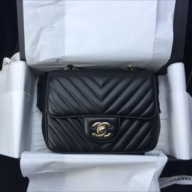 100% Authentic Chanel Square Mini Chevron