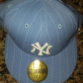 NY Fitted 7 1/4 Authentic NEW ERA 59FIFTY Baby Blue White Stripes