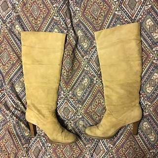 Suede Below The Knee Boots