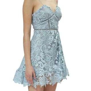 Self Portrait Blue Asymmetrical Guipure Dress
