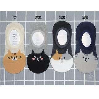 。error dot。韓國製萌大臉貓咪防滑落隱形襪子