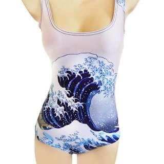 LOOKING FOR Hokusai Wave Painted Onepiece Swimsuit