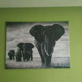 Selling Animal Paintings & Wooden Elephant Head.