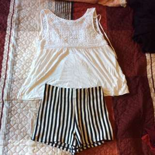 Stripe Shorts N White Top