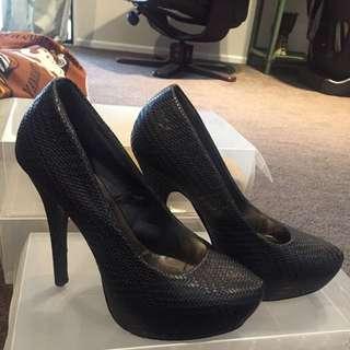 Black Stitch Heels