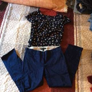 Mango Navy Pants N Floral Top