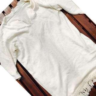 vintage tassel end ivory mini dress (MNG)