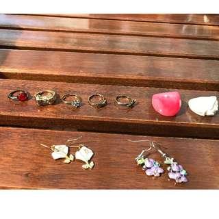 vintage mix of jewelry/rings, earnings, bracelet/