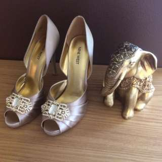 NINE WEST Heels Gold Taupe BNWT