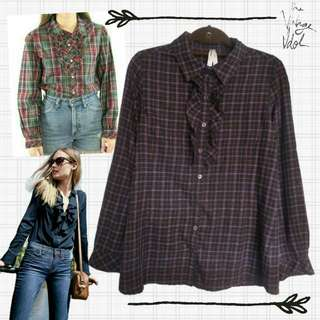 Plaid Long Sleeves Blouse with Ruffles