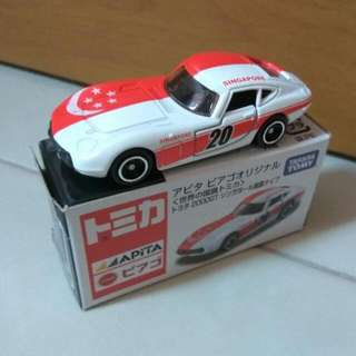 Tomica Apita Toyota 2000GT Singapore Flag (dented box)