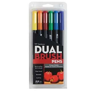New Tombow Dual Brush Pen Art Markers Primary 6 Pack