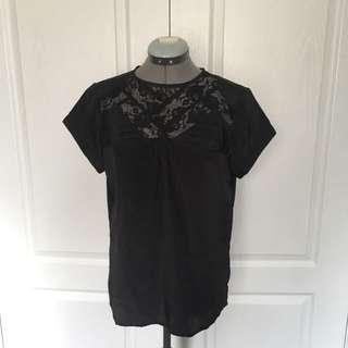 Jacob Connexxion Black Dress Shirt With Lace Detail