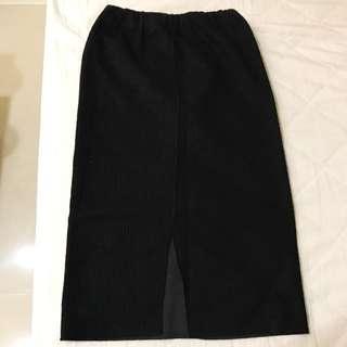 韓國針織開叉7分長裙 黑色 Forever21 Gap ZARA Mango