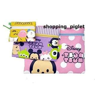 Oo 跟著小豬環遊世界購物趣 oO 日本連線-迪士尼 tsumtsum 茲姆 化妝包 盥洗包 收納袋 資料袋 三入一組